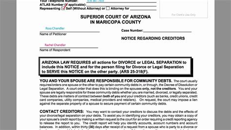 Divorce Records Maricopa How To Divorce In Arizona A6 Notice Regarding Creditors