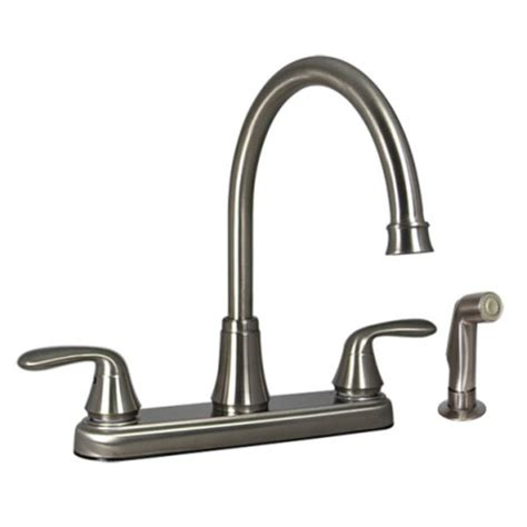 Brushed Nickel Kitchen Faucet With Sprayer Faucets 8 Quot Dual Handle Rv Kitchen Faucet With Side Sprayer Brushed Nickel Finish