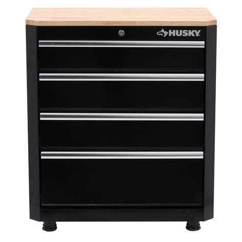 Garage Cabinets Drawers Husky 33 In H X 28 In W X 18 In D 4 Drawer Steel Garage
