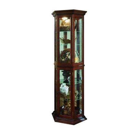 pulaski cherry trapizode mirrored curio in brown 20853