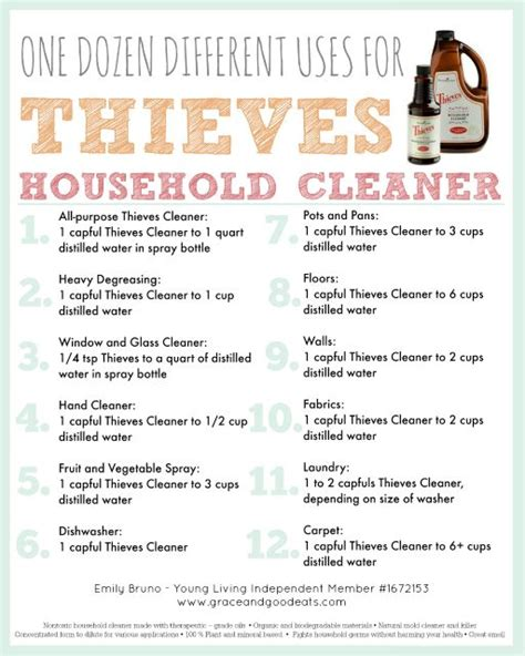 printable young living recipes the 25 best ideas about thieves cleaner on pinterest