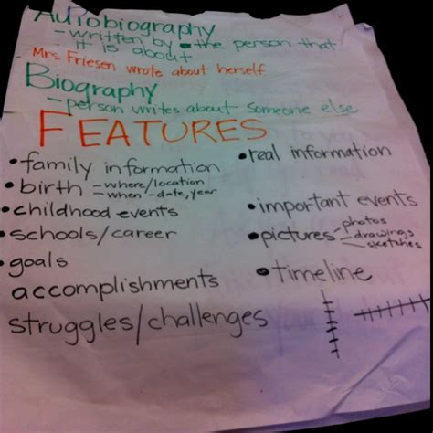 biography vs autobiography anchor chart autobiography anchor chart teaching ideas pinterest