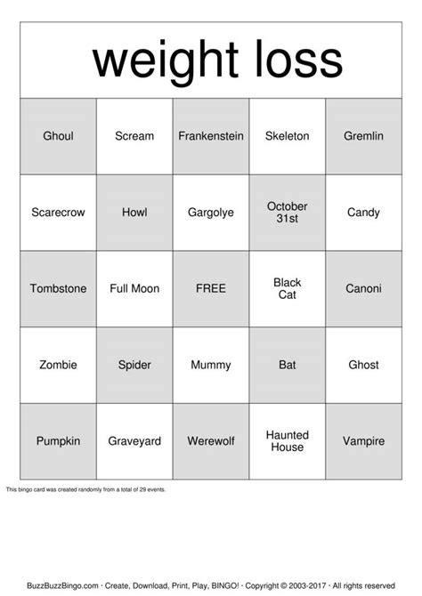 Weight Of A Gift Card - weight loss bingo cards to download print and customize