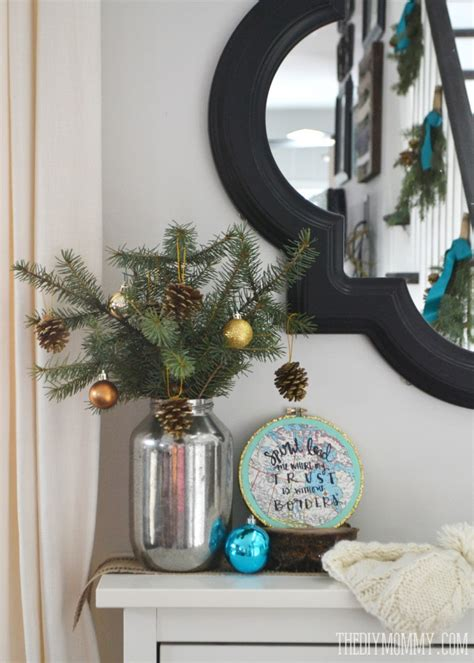 2014 christmas home tour a teal green vintage inspired