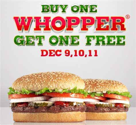 Where Can I Buy Burger King Gift Cards - burger king buy one get one free whoppers through december 11 2011 money saving