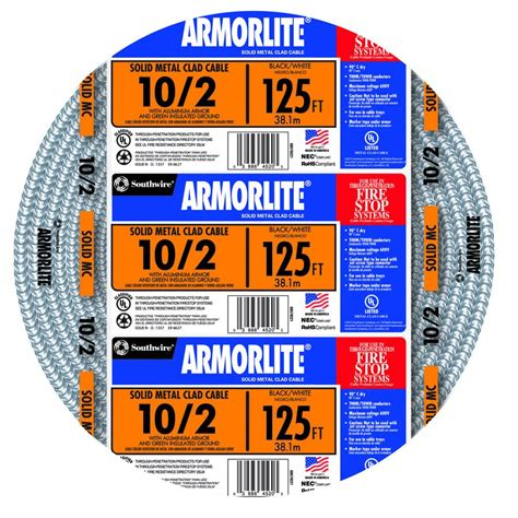 10 2 mc cable shop armorlite 125 ft 10 2 solid aluminum mc cable at