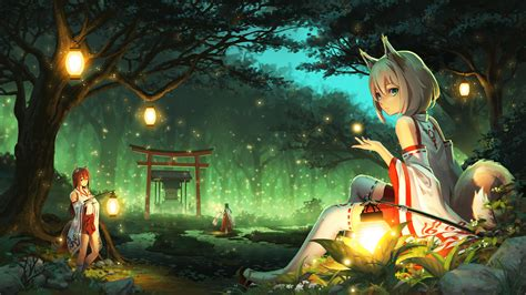 anime girl with fireflies wallpaper forest anime girls cat ears kimono