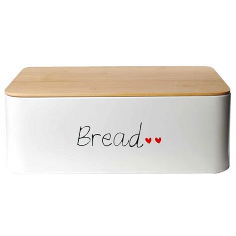 bread box lunch box metal bamboo cover bread boxes storage