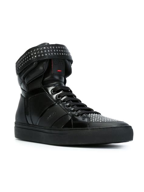 hugo high top sneakers lyst hugo hi top lace up sneakers in black for
