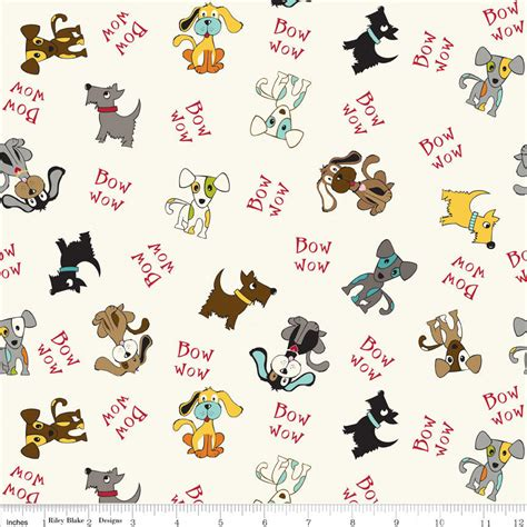 Flanel Wow puppy park bow wow dogs paw print on cotton fabric print d684 19 ebay