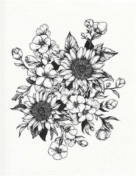 black and white sunflower tattoo designs sunflower drawing sunflowers progress