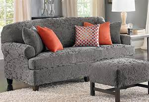 gray t cushion slipcover sure fit stretch jacquard damask separate seat t cushion
