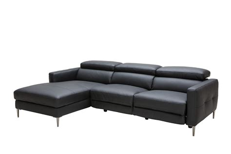 divani recliner divani casa booth modern black leather sectional w