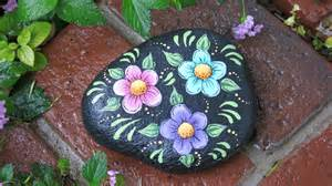 Painted Garden Rocks Painted Garden Rock With Flowers Yard Decoration Plant