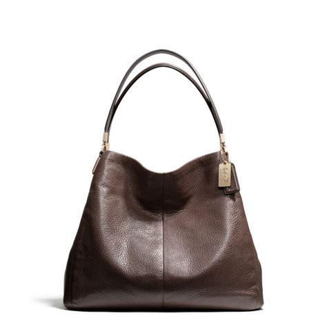 coach shoulder bag lyst coach small phoebe shoulder bag in leather