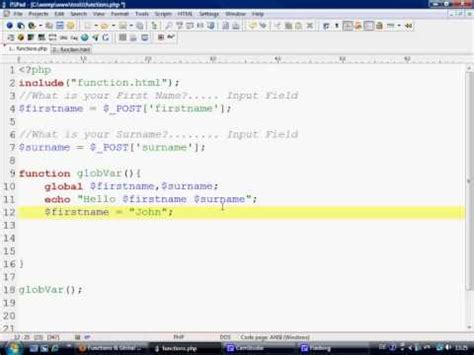 tutorial php variables php tutorial functions part 3 global variables youtube