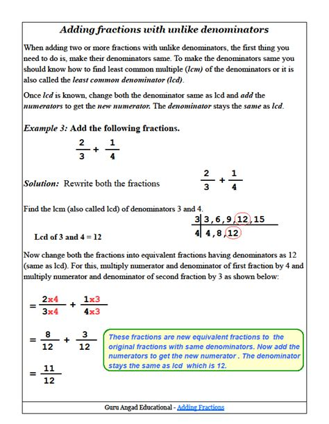 Adding Fractions With Unlike Denominators Worksheets Pdf by Adding Fractions With Unlike Denominators Worksheets Pdf
