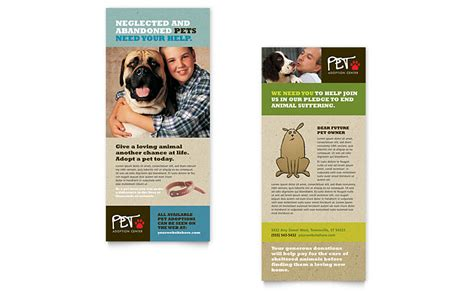 free template for 4x9 rack card animal shelter pet adoption rack card template word