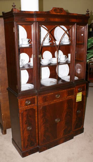 Nice banded inlaid breakfront china cabinet For Sale   Antiques.com   Classifieds