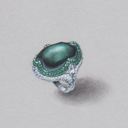 sketchbook ring tahitian pearl ring pencil and water color by wooakim