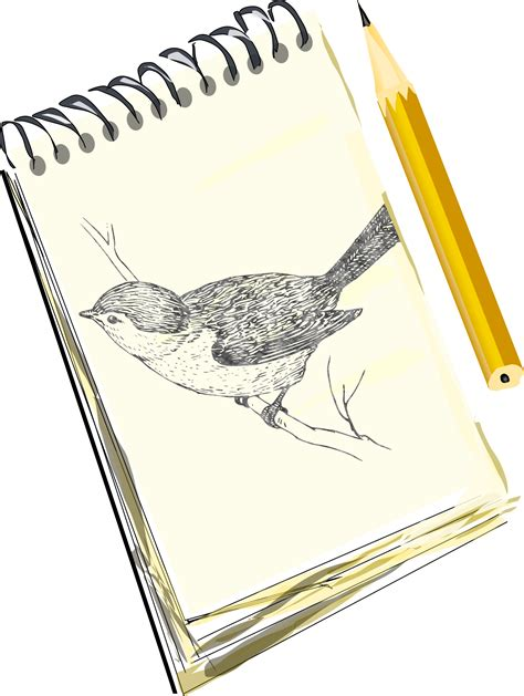 drawing pad free clipart sketchpad with drawing of a bird