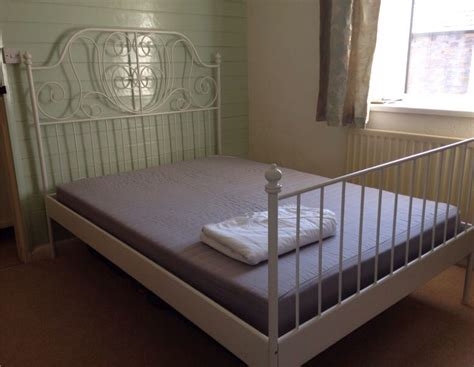 metal bed frame ikea white metal double ikea bed frame mattress in carnforth lancashire gumtree
