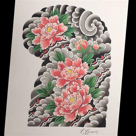 japanese peony tattoo peony halfsleeve japanese superhype