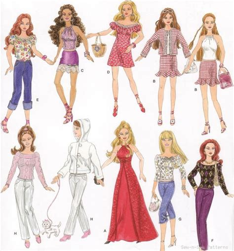 clothes pattern uk barbie doll clothes wardrobe sewing pattern dress gown ebay