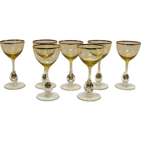 Stem Cocktail Glasses Vintage Set Of 7 Atlas Liquor Cocktail Glasses Golden