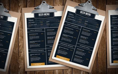 menu design mockup free beer menu template for photoshop illustrator