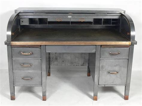 industrial desk l 1930s banker s metal roll top industrial desk at 1stdibs