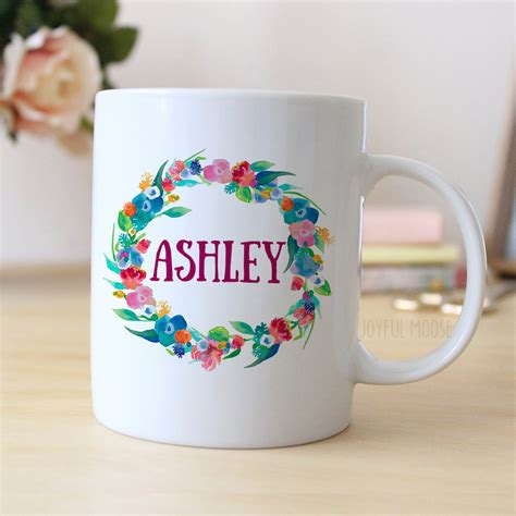 Floral Watercolor Personalized Mug Personalized Coffee Mug
