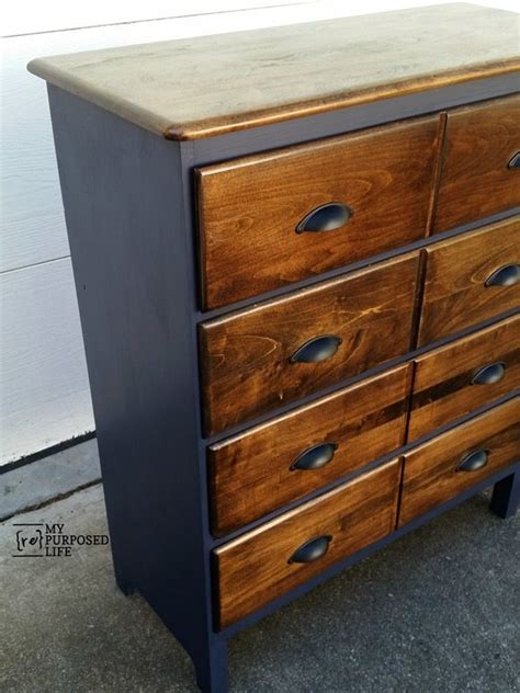 navy chest of drawers modified dresser navy and dark stain my repurposed life