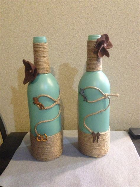 wine bottle home decor western decor wine bottle by sweetlouieoriginals on etsy