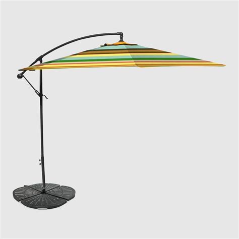 Cantilever Patio Umbrella With Base Stripe 10 Ft Outdoor Cantilever Umbrella And Weight