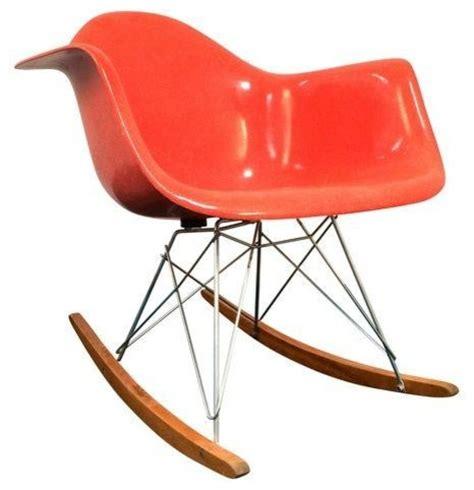 orange upholstered rocking chair pre owned vintage eames herman miller orange rocking chair