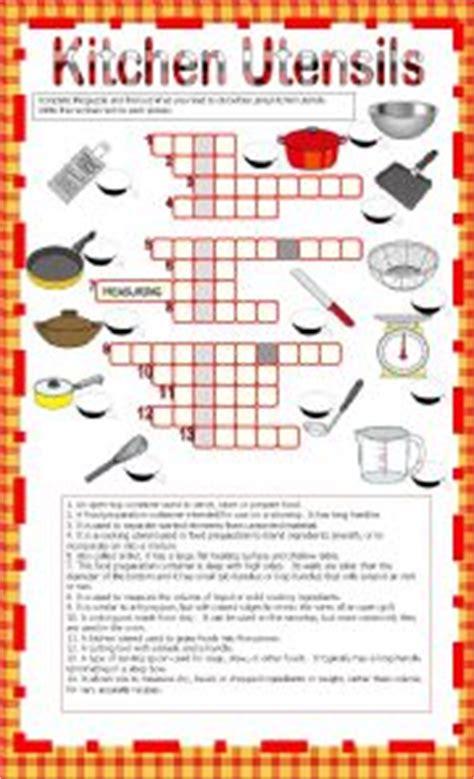 Kitchen Utensil Crossword by Worksheets Kitchen Utensils Crosswords