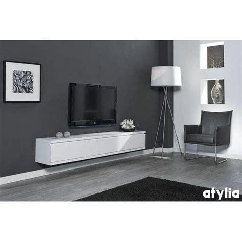 meuble tv design suspendu flow blanc mat atylia meuble