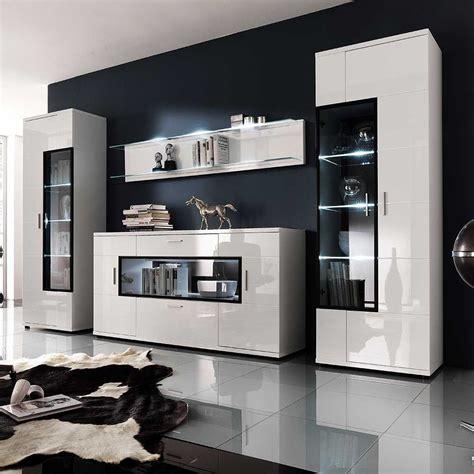 wohnzimmerwand modern wohnwand in hochglanz wei 223 glas 4 teilig