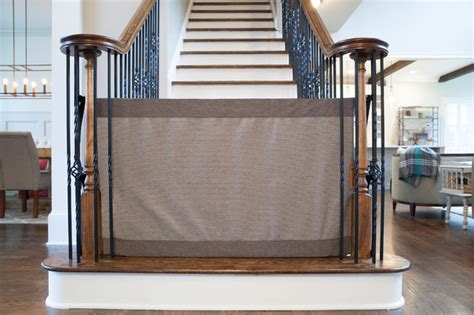 Safety Gates For Stairs With Banisters by Banister To Banister Safety Gate Farmhouse Staircase By The Stair Barrier
