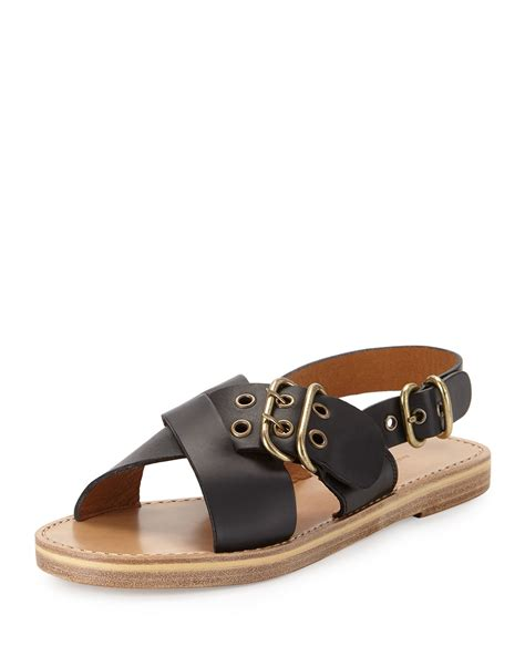 marant sandals marant jaden crisscross flat buckle sandal in black