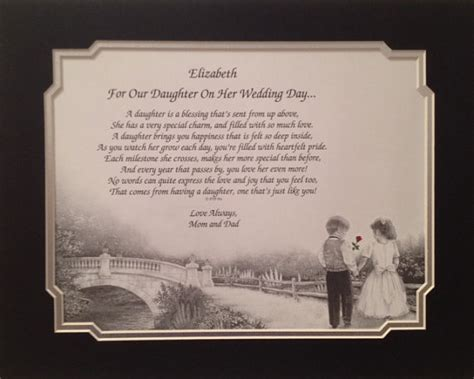 on this the day of my daughters wedding personalized wedding gift to our from and