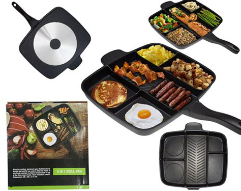 Multi Grill Pan By Livyhollen buy multi section 5 in 1 non stick master frying grill pan