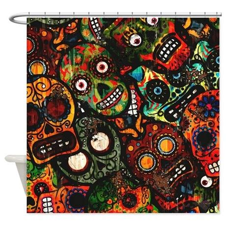 day of the dead shower curtain day of the dead shower curtain by highaltitudes2