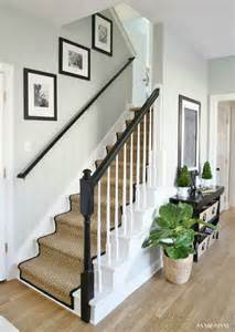 Best White Trim Color Sherwin Williams painted staircase makeover with seagrass stair runner