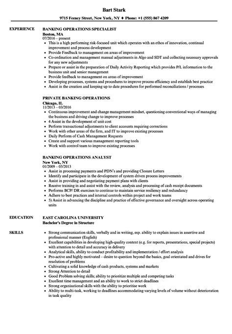 resume for banking operations resume ideas