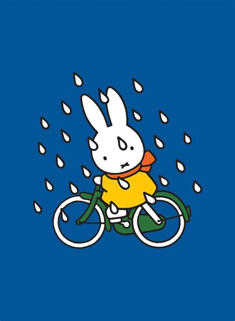 Bicycle Decorations Home miffy on her bike in the rain mini poster