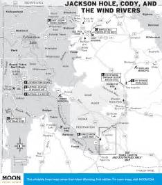 Travel map of jackson hole cody and the wind rivers in wyoming