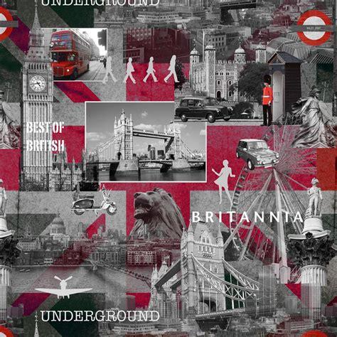 Muriva Black, Grey & Red Best Of British Wallpaper