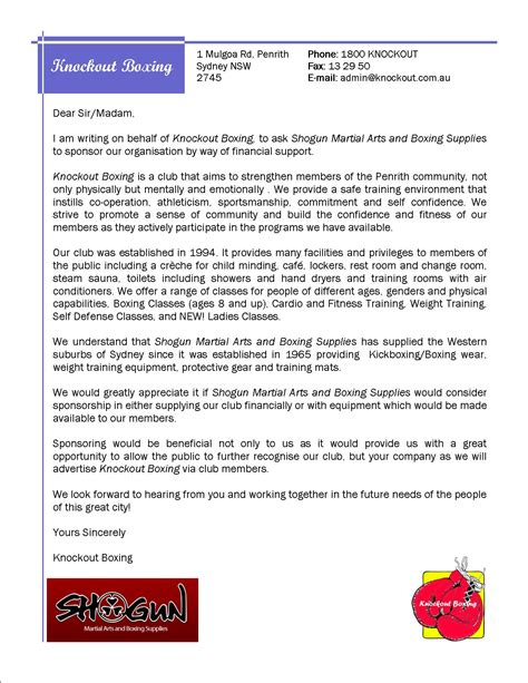 Response Sponsor Letter Sponsorship Knock Out Boxing